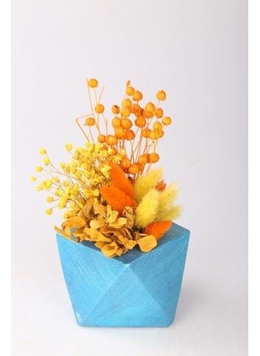 Kibrithane Çiçek Yapay Çiçek  Beton Saksı Kuru Çiçek Aranjman Kc00200744 Renkli